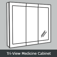YTRV - York White <br> Medicine Cabinet <br> Tri View <br> Multiple Sizes