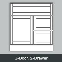 TW2421D - Tuscany White Vanity <br>1-Door/2-Drawer <br> Multiple Sizes