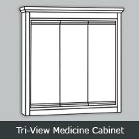 TWTRV - Tuscany White <br> Tri-View <br>Medicine Cabinet<br> Multiple Sizes
